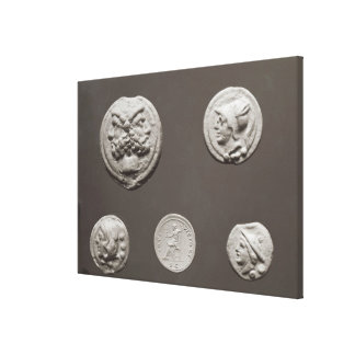 Five coins stretched canvas prints