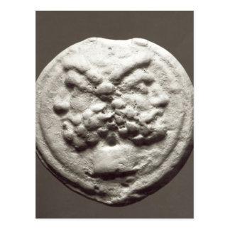 Five coins depicting Janus, Jupiter Postcard