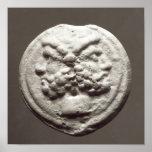Five coins depicting Janus, Jupiter Poster
