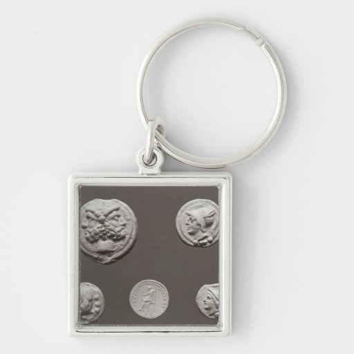 Five coins Silver-Colored square keychain