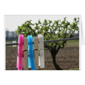Five color clothespins hanging on rural background card