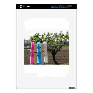 Five color clothespins hanging on rural background iPad 3 skins