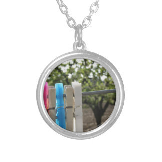 Five color clothespins hanging on rural background round pendant necklace