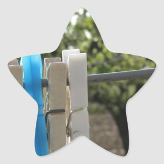 Five color clothespins hanging on rural background star sticker