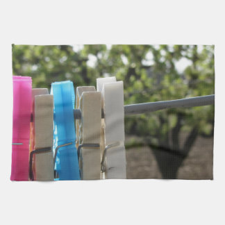 Five color clothespins hanging on rural background towels