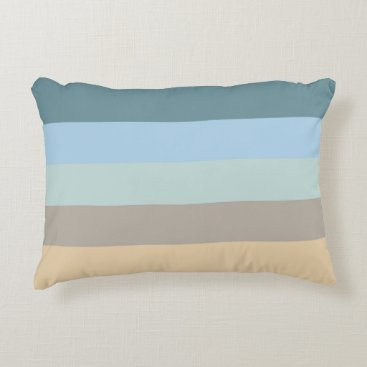 Beach Themed Five Color Combo -Blue Brown Sand Beige Turquoise Decorative Pillow