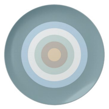 Beach Themed Five Color Combo -Blue Brown Sand Beige Turquoise Dinner Plate
