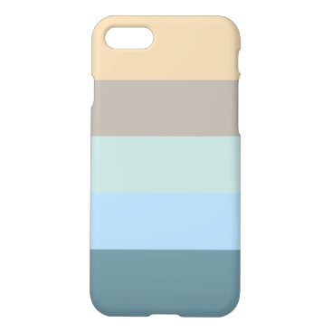 Beach Themed Five Color Combo -Blue Brown Sand Beige Turquoise iPhone 8/7 Case