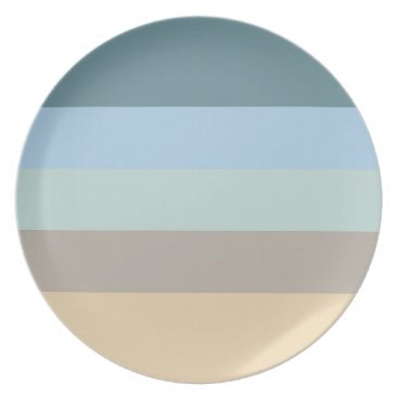 Beach Themed Five Color Combo -Blue Brown Sand Beige Turquoise Melamine Plate