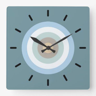 Beach Themed Five Color Combo -Blue Brown Sand Beige Turquoise Square Wall Clock