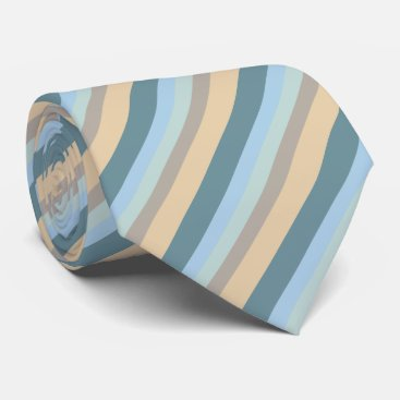 Beach Themed Five Color Striped Blue Brown Sand Beige Turquoise Tie