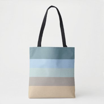 Beach Themed Five Color Striped Blue Brown Sand Beige Turquoise Tote Bag