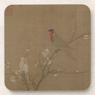 Five-colored parakeet on a blossoming apricot tree coaster