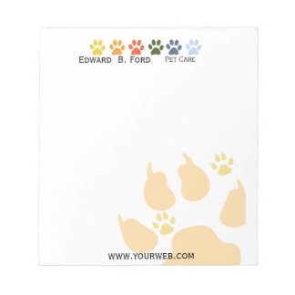 Five Colored Paws Pet  Animal Care Big Little Notepad