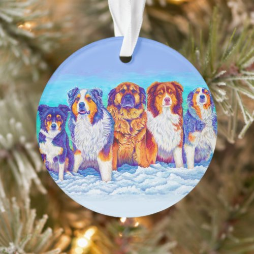 Five Colorful Dogs in the Snow Acrylic Ornament