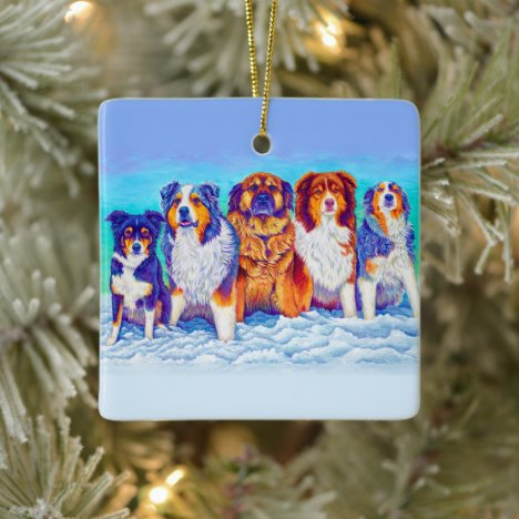 Five Colorful Dogs in the Snow Ceramic Ornament