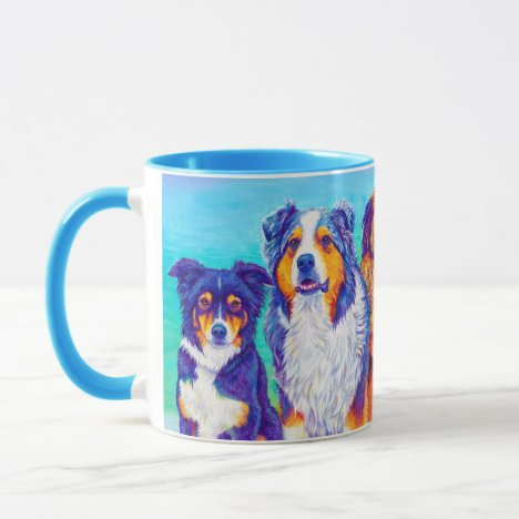 Five Colorful Dogs in the Snow Coffee Mug