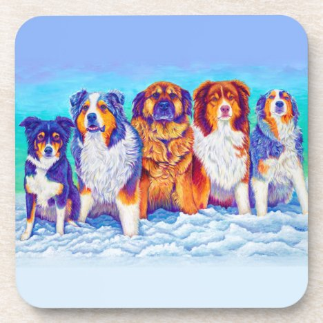 Five Colorful Dogs in the Snow Plastic Coasters