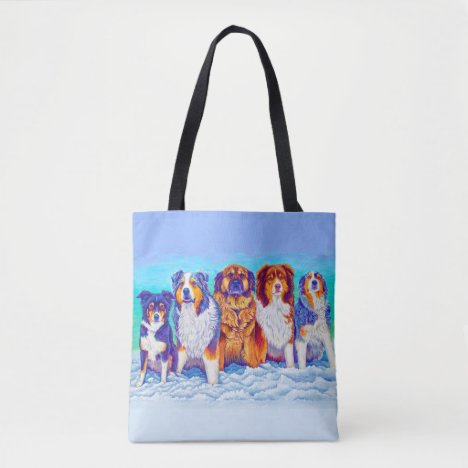 Five Colorful Dogs Sitting in Snow Tote Bag