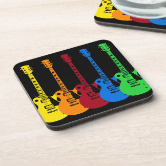 Five Colorful Electric Guitars Beverage Coaster