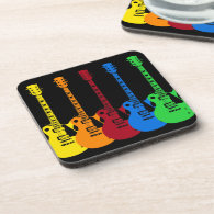 Five Colorful Electric Guitars Drink Coasters