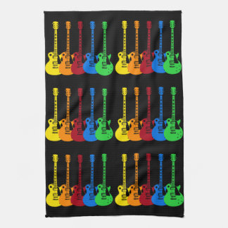 Five Colorful Electric Guitars Hand Towels
