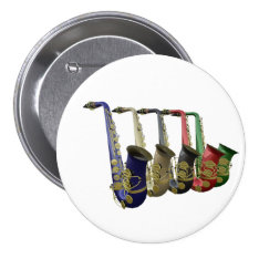 Five Colorful Saxophones Button Badge Name Tag at Zazzle