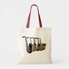 Five Colorful Saxophones Canvas Crafts & Shopping Tote Bag at Zazzle