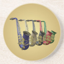 Five Colorful Saxophones Golden Drinks Coaster at Zazzle