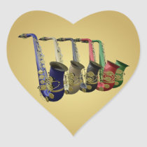 Five Colorful Saxophones Golden Heart Gift Sticker at Zazzle