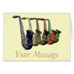 Five Colorful Saxophones Greetings Card