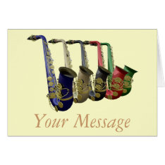 Five Colorful Saxophones Greetings Card at Zazzle
