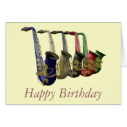 Five Colorful Saxophones Happy Birthday Card at Zazzle