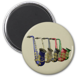 Five Colorful Saxophones In A Line 2 Inch Round Magnet