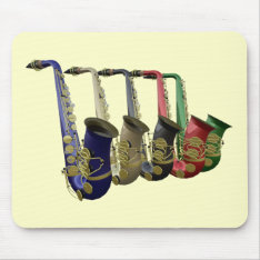 Five Colorful Saxophones In A Line Mousepad at Zazzle