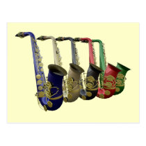 Five Colorful Saxophones In A Line Postcard at Zazzle