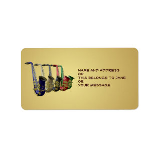 Five Colorful Saxophones Name Gift Tag Bookplates at Zazzle