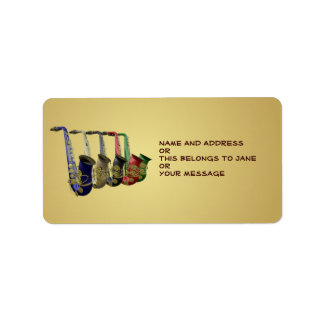 Five Colorful Saxophones Name Gift Tag Bookplates Label