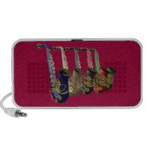 Five Colorful Saxophones On A Doodle Speaker at Zazzle