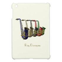 Five Colorful Saxophones on an iPad Mini Case at Zazzle