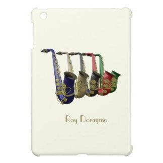 Five Colorful Saxophones on an iPad Mini Case