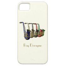 Five Colorful Saxophones on an iPhone 5 Case at Zazzle