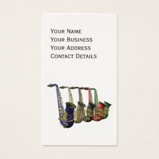 Five Colorful Saxophones Platinum Finish Cards