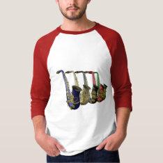 Five Colorful Saxophones Raglan Tee Shirt at Zazzle