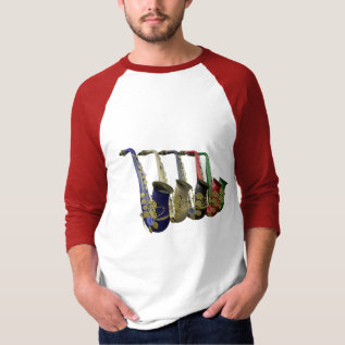 Five Colorful Saxophones Raglan Tee Shirt at Zazzle