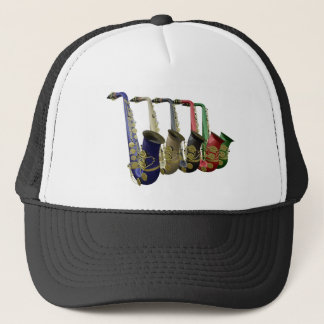 Five Colorful Saxophones Team Club Group Hat