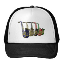 Five Colorful Saxophones Team Club Group Hat at Zazzle