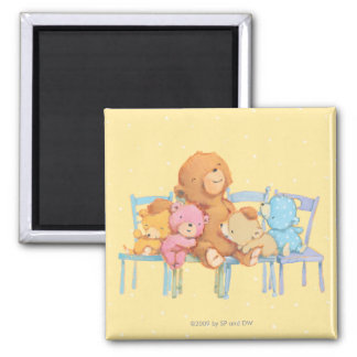 Five Cuddly and Colorful Bears On Chairs 2 Inch Square Magnet