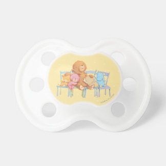 Five Cuddly and Colorful Bears On Chairs Pacifier