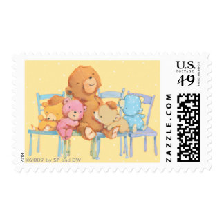 Five Cuddly and Colorful Bears On Chairs Postage